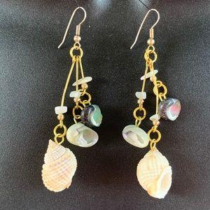 Adorable Sea Shell Dangle Earrings OOAK Artisan
